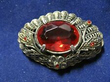 Classic Vintage  Pin Or Broach Platinum color with Large Red Stone
