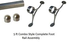 5 ft. BRUSHED STAINLESS STEEL HOME -FOOT RAIL-BAR FOOT RAIL KIT