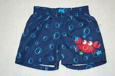 Baby Boys Swim Trunks Navy Blue Sea Life Crab Starfish Bubbles Rear Pockt 6-9 Mo