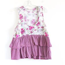 Living Doll LA sleeveless floral flower ruffle top blouse purple white L large