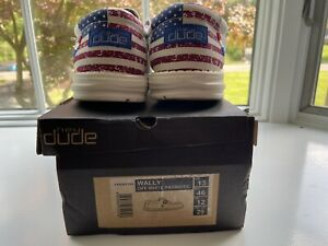 Hey Dude Mens Wally Off White Patriotic Shoes SIZE 13 Ships ASAP!