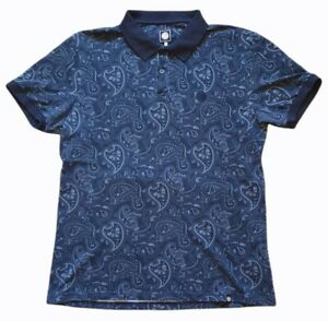 pretty green mens short sleeve collared polo shirt rare dark grey paisley size l