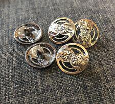 5 x 17mm Antique Bronze Tone Metal Shank Buttons- Australian Supplier