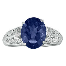 14K WHITE GOLD 1 3/4CT GENUINE OVAL SAPPHIRE AND DIAMOND RING, SIZE-7
