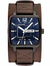 Rechteckige Armbanduhren mit Datumsanzeige und gebürstetem Finish für Erwachsene