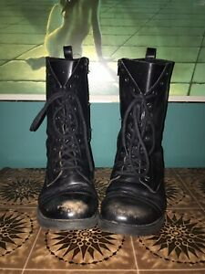 Black Leather Mid Calf 11 Hole Military Biker Style Lace Up Boots size 6 39