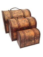 Pirate Treasure Chest Vintage Colonial Map Atlas Design Storage Trunk Wedding Set of 3