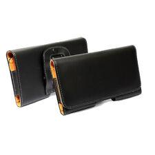 custodia in eco PELLE CON ATTACCO CINTURA nera per SAMSUNG NOTE 2 3 N7100 N9005