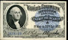 "1893 COLUMBIAN WORLD'S FAIR ""WASHINGTON"" TICKET XF BN5046"