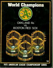 1975 ALCS Baseball Program Boston Red Sox @ Oakland A's, unscored ~ Fair (Ink)