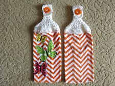 Crocheted top kitchen towels- Orange Butterfly Dish Towels with white tops