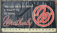 Rare Original WEATHERBY Rifles & Shotguns DEALER Retail Store Vinyl BANNER Sign