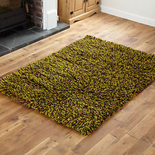 Small Medium Large 7cm Thick Pile Wool Shaggy Multi Color Clearance Rugs 170x240cm Green