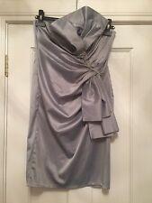 Goddess London Silver Strapless Diamanté  Body Con Party Dress Size 10 12