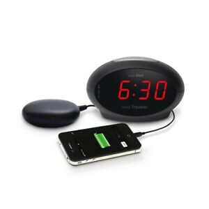 Sonic Traveler Loud Travel Alarm with Vibrating Pad and USB Charging Socket