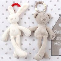 Baby Bed toy Hanging Rabbit Bear Soft Plush doll for baby Crib baby Doll
