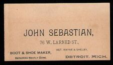 VINTAGE DETROIT Business Card John Sebastian Boot & Shoe Maker 76 W. Larned St.