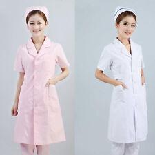Nurses Medical Scrubs Clinic Uniform Dress Lab Coat Short Sleeve