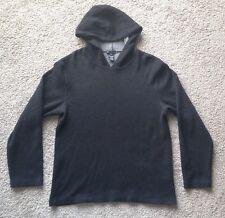 CLUB MONACO Mens Lambswool Pullover Hoodie Black Cotton Blend Sweater