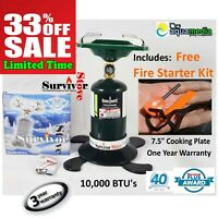"""Portable Propane Gas Burner Coleman-Style 7"""" Camping Stove Survival Emergency"""