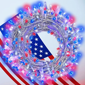 4th of July Decorations - Red White Blue Lights,200LED String Lights for Outdoor
