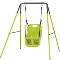 Altalena Singola Struttura Acciaio Seduta Plastica 95x150x12H CM Verde
