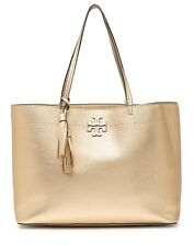 NWT TORY BURCH McGraw Tassel Leather Shoulder Tote Bag Metallic Gold AUTHENTIC