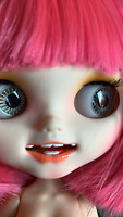 """12"""" Blythe Doll White Skin Joint Body Customized Face with Teeth Mouth Red Hair"""