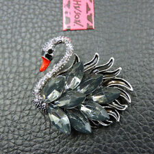 Betsey Johnson Charm Brooch Pin Woman's Exquisite Crystal Rhinestone Swan