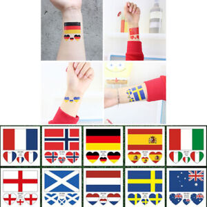 Temporary Soccer National Flags Heart Shaped Face Tattoo Sticker Waterproof Gift