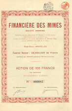 Belgica, Financiere des Mines SA, accion, 1925 (Siege: Bruxelles)