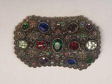 Vintage Filigree Brooch Pin Signed NE (New England Glass Works) Blue Rhinestones