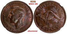 "Australia Bronze 1942 I 1 Penny NGC MS63+ ""PLUS"" BN TOP GRADED BY NGC  KM# 36"