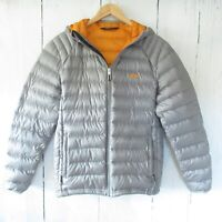 Golite Jacket M Medium 800 Pertex Down Filled Silver Gray Hooded Puffer Packable
