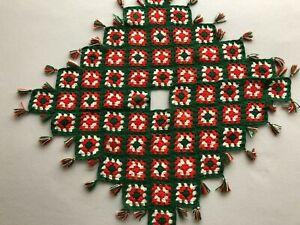 "Vintage Handmade Crochet Christmas Tree Skirt Granny Square 34"""