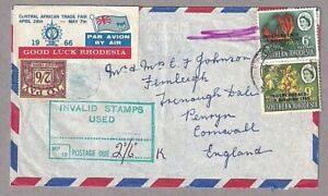 Airmail Central African Trade Fair Rhodesia 1966 Invalid Stamps 2/6 To Pay Stamp