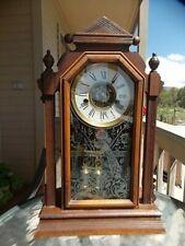 "Nice!  Unrestored Ansonia "" ASIA "" Walnut Parlor Clock w/Alarm Org Peacock Glass"