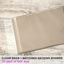 6x8 (50 pack) Clear Cello Reseal Bags Sleeves + Matching Backing Boards (700gsm)