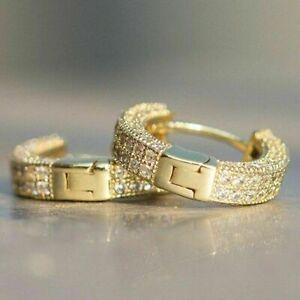 Unisex Silver Round Crystal Hinged Huggie Hoop Earrings Wedding Jewelry Gift