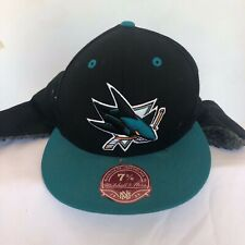 San Jose Sharks Mitchell & Ness NHL black teal retro logo trapper cap 7 5/8""
