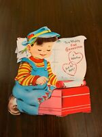 Vintage Greeting Card Valentine Boy Grandson Typewriter