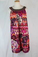 MADISON LEIGH IKAT Dress 10 LARGE Black Red Purple Yellow Khaki Bead Scoop Neck
