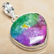 "Handmade Rainbow Solar Quartz Crystal 925 Sterling Silver Pendant 1.75"" #P08416"