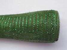 Dark Green Deco Mesh with a Green Metallic Thread