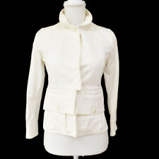 Authentic CHANEL Vintage CC Logos Button Long Sleeve Jacket White #36 M13246