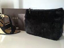 NEU H&M Tasche Clutch Kosmetiktasche aus Fell Schwarz Winter Weihnachten Luxus