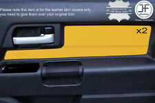YELLOW LEATHER 2X FRONT DOOR CARD TRIM COVERS FITS TOYOTA FJ CRUISER 2007-2015