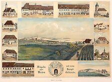 Mügeln-souvenierblatt-SCHMID-Mügeln contro Occidente-Kol. LITOGRAFICO 1850