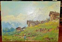 LUIGI LIVERANI Dipinto antico paesaggio montagna olio su tavoletta inizio '900