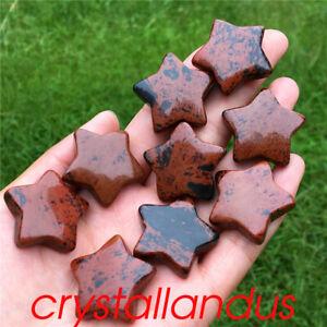 10pc Natural red obsidian star pendant quartz crystal pentagram pendant healing
